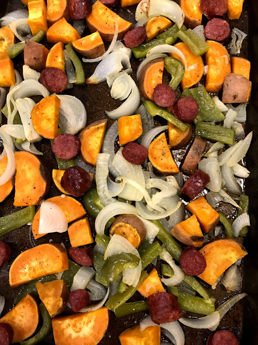 Easy, Healthy Weeknight Dinner: Sheet Pan Potatoes, Sausage, and Vegetables
